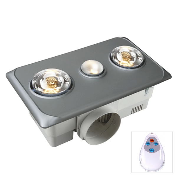 Remote Bathroom Exhaust Fan: Ventair Brook 2 Heat/Light/Exhaust In Silver With Remote