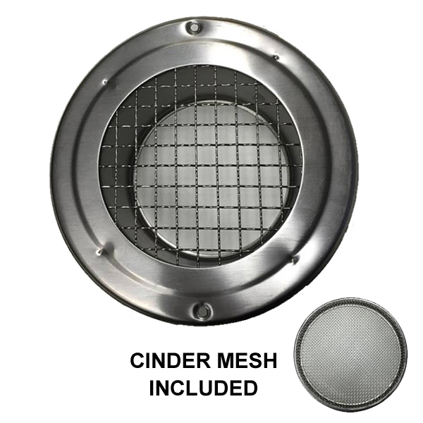 Round Mesh Vent Stainless Steel 200mm With Cinder Mesh