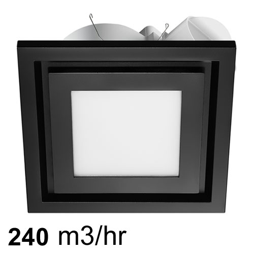Black Airbus 225 Square Exhaust Fan With 14w Led Light