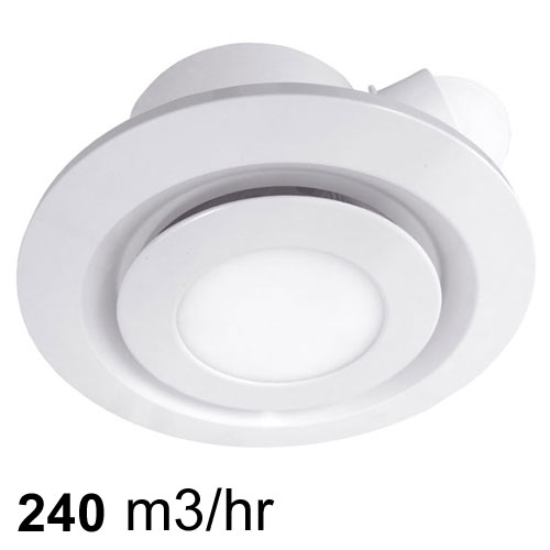 Airbus 225 Low Profile Exhaust Fan White With Led Light
