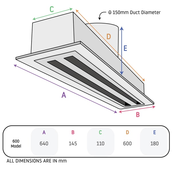 Linear 150mm High Airflow Ceiling Exhaust Kit